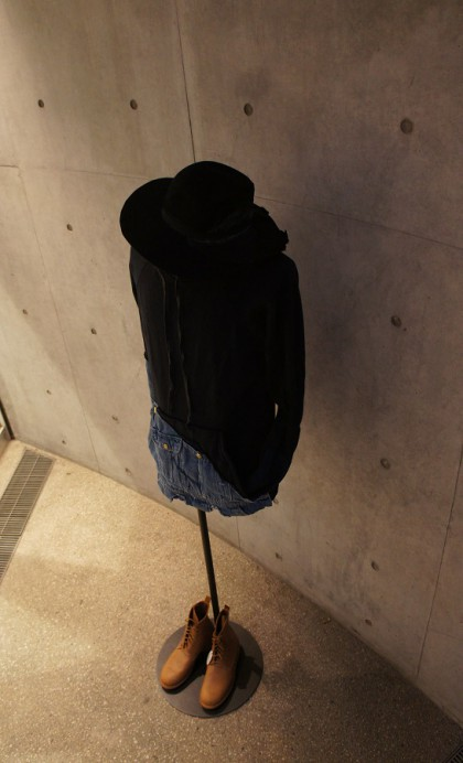 NAVY FLEECE / VINTAGE DENIM HOODIE