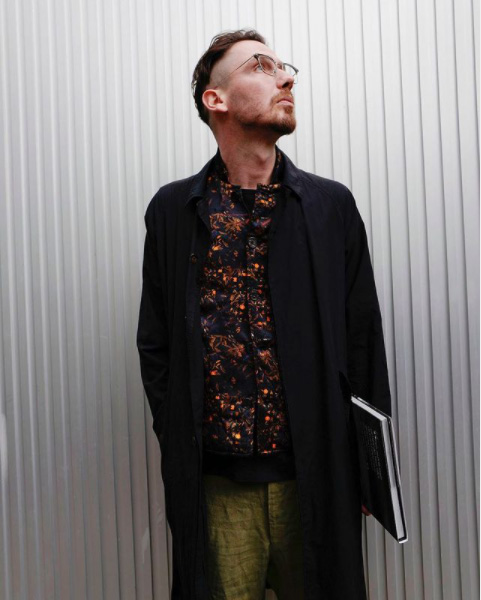 workers cap geoffreybsmall silk shirt geoffreybsmall one-cut trouser yamauchi_japan Model Makoto(174cm)