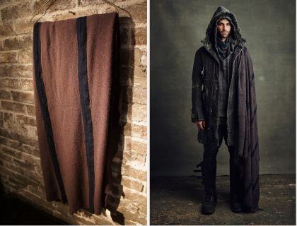 GLFW16-A107HAND DYED VINTAGE BLANKET WRAP -CHARCOALWool (look14)l